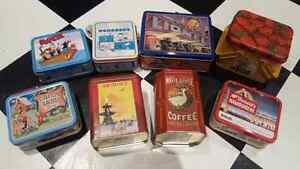 Tin lunch boxes and display tins vintage