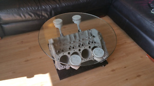 Coffee table made from engine block