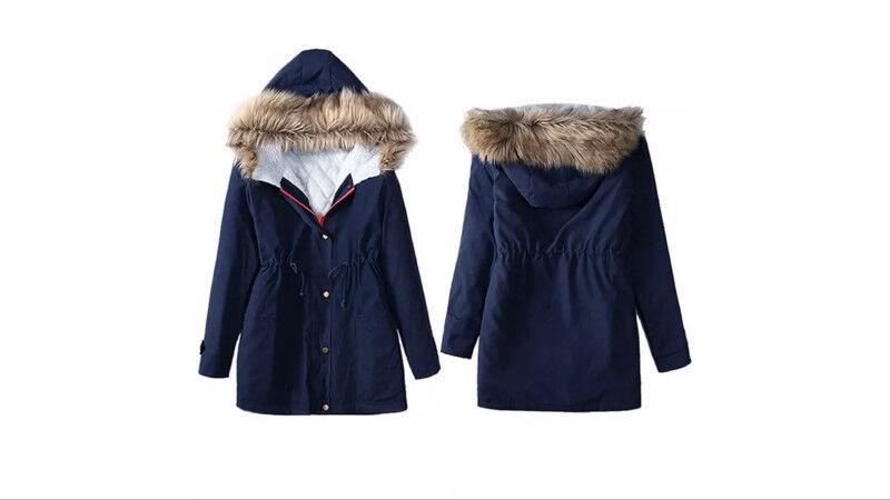 New Ladies Blue Winter Parka Coat