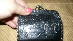 VINTAGE ADORABLE HAND MADE 1950'S BLACK LEATHER COIN PURSE Kitchener / Waterloo Kitchener Area image 8