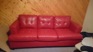Red Bonded Leather Couch St. John's Newfoundland image 1
