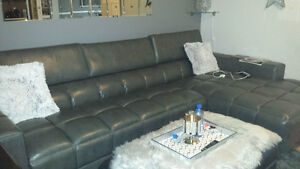 Sectional couch with right side chaise.