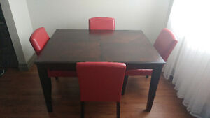 Mint solid wood dining table and 4 red leather chairs
