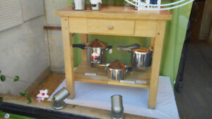 Michigan Maple Solid maple wood  kitchen work table and shelf