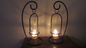 """Pair of New Rod Iron Candle Cup 11"""" Hangers Glass cup"""