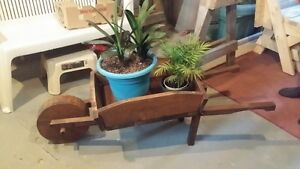 Wheelbarrow planter and folding bench/picnic table see pictures