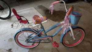 "Girls bike with seat for 18"" Doll and Basket"