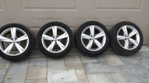 4/ PASSAT 2012 ALUMINUM RIMS & 2 GOOD TIRES