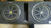 """x2 10"""" Subs w/ Box and Amp"""