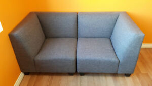 STUDENT SPECIAL - 2 PC MODULAR GREY LOVE SEAT - $189