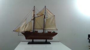 mahogany wood model 1932 french navy schooner replica