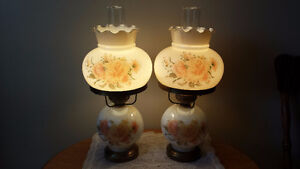 A Pair of White Colonial Lamps With Chimneys in a Floral Design!
