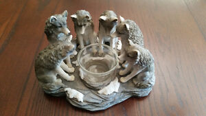 6 Pack Wolf & Candle Collection Statue