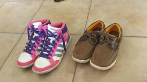 Size 4 (US) girls runners and Size 1.5 boys deck shoes