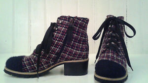Authentic Chanel Tweed Fan Fab Cap-toe lace up ankle boots