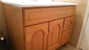 Oak Bathroom Vanity and Medicine Cabinet