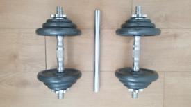 RRP £140 Dumbbells Barbell Set 20kg Cast Iron Adjustable Weight