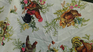 Nappe  pour table ronde de collection coq, poules, ferme