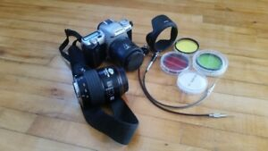 PENTAX ZX-50 film camera, lens, and accessories