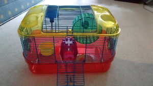Hamster cage, tubes, ball, etc