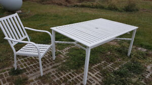Metal patio set and cushions
