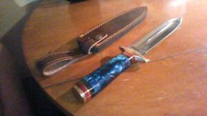 Couteau chasse ( Perkins) double tranchant, fait à la main...