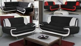 suite 3+2 or corner carol black/white or black/red sofa / sofas delivery thursday call us now