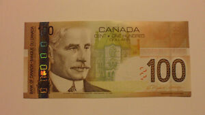 Canadian paper money Hundred Dollar Bills (currency) bank notes