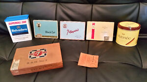 Cigarette Tins and Wooden Cigar Box, & 1900 rolling paper cover