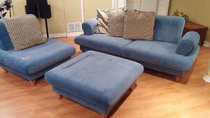 Sofa, chair, and ottoman