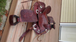 Roping saddle and pad for sale