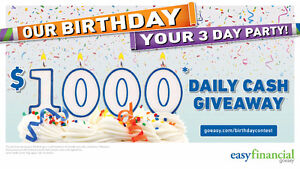 BIRTHDAY PARTY!!! 1 Days ONLY! $1000 FREE CASH DAILY DRAW!!!