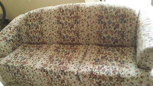 Firm Light grey couch with purple flowers
