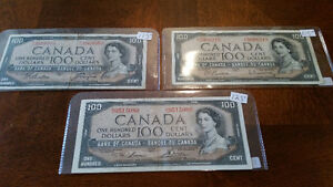 3 1954 100$ bills 115-125 each see pics... priced to sell.......