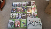XBOX 360 w/ 2 controllers and 19 games
