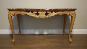 French Provincial Hand Carved Console Table/Server w Marble Top