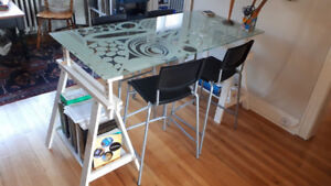 IKEA table and four stools