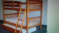 Solid Pine single over double, trundle bed bunk bed