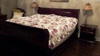 """King Sleigh Bed /w """"Gibbard legacy collection"""" Mahogany Chests"""