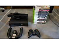 Xbox 360 with Kinect, steering wheel, controller and games