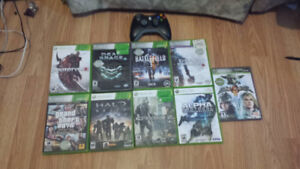 9 Xbox 360 games and 1 wireless controller