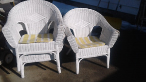3 wicker chairs needing a little repair on arms