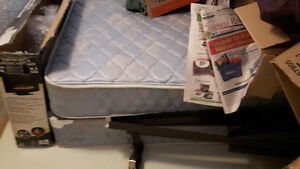 Single mattress and box spring with frame