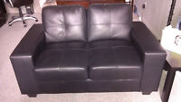 Black Bonded Leather Sofa and Love Seat for sale