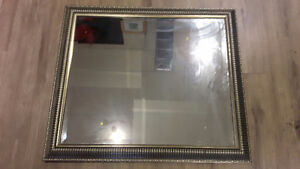 Mirror with gray frame