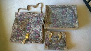 "Vintage ""French Line"" Rose Tapestry Luggage - 3 pc. set - $65"