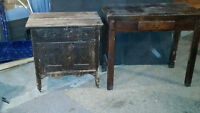 ANTIQUE TABLE AND DRESSER