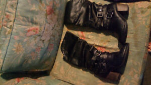 Pure leather high heel boots