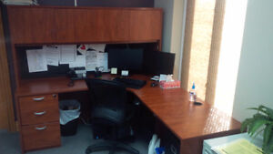 Like New Office L-Shaped Desk c/w Hutch and Filing Drawers