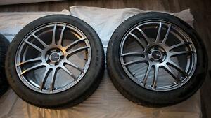 "18""x8.5"" Enkei TSP6 Wheels (5x100) with Bridgestone Summer Tires"